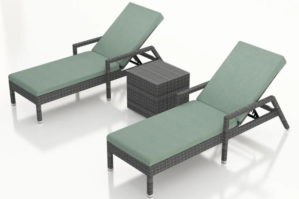 District Reclining Chaise Lounge with Cushion and Table Color: Canvas Spa