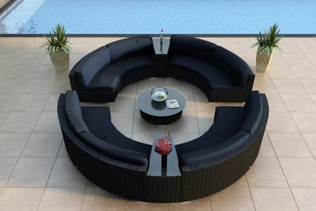 Urbana 7 Piece Sunbrella Sectional Set with Cushions Fabric: Spectrum Indigo