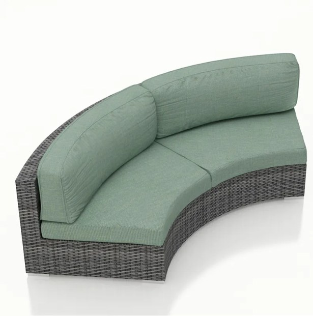 District Curved Loveseat with Cushions Color: Canvas Spa