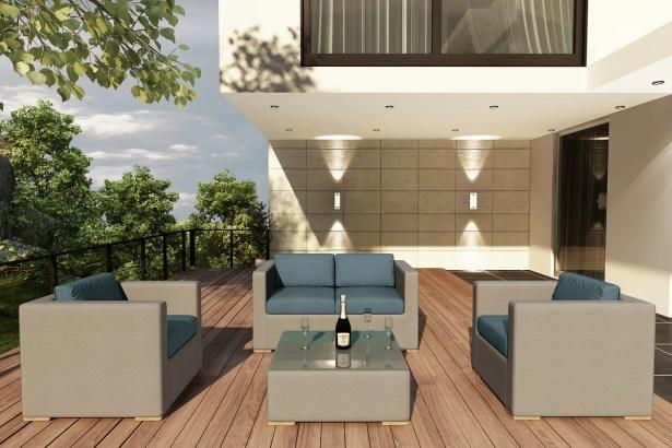 Element 4 Piece Teak Sofa Set with Sunbrella Cushions Fabric: Cast Lagoon