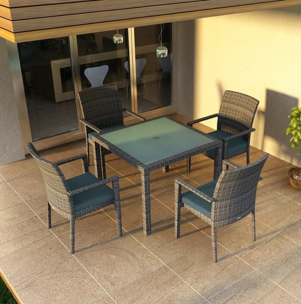 District 5 Piece Sunbrella Dining Set with Cushions Color: Cast Lagoon