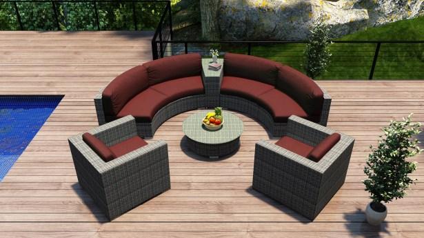 District 6 Piece Sunbrella Sofa Set with Cushions Fabric: Canvas Henna