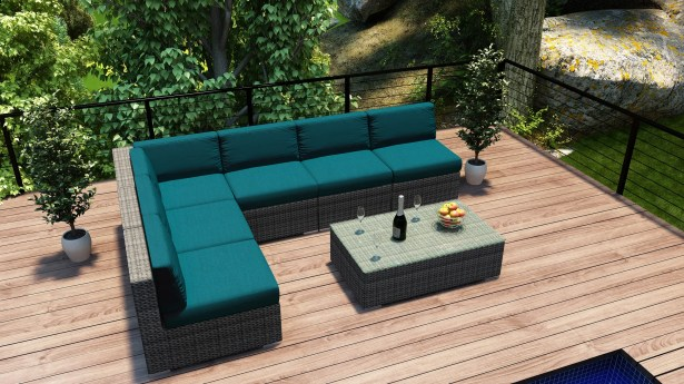 District 7 Piece Sectional Set with Cushions Fabric: Spectrum Peacock
