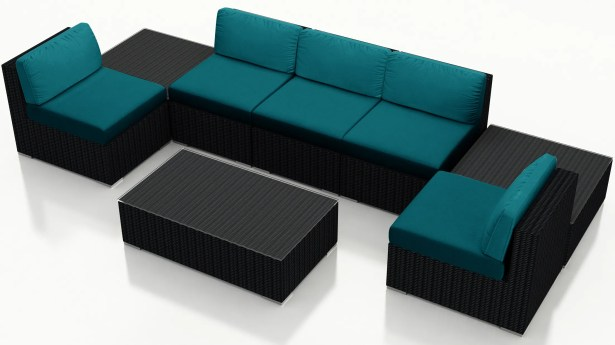 Urbana 8 Piece Sectional Set with Cushions Fabric: Spectrum Peacock