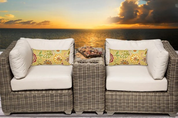 Cape Cod 3 Piece Conversation Set with Cushions Fabric: Beige