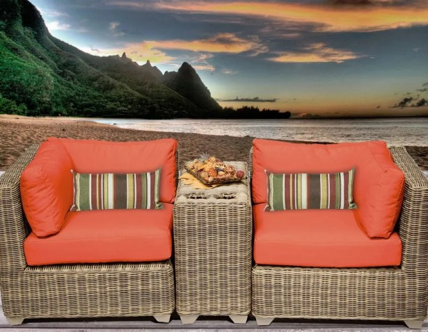 Cape Cod 3 Piece Conversation Set with Cushions Fabric: Tangerine