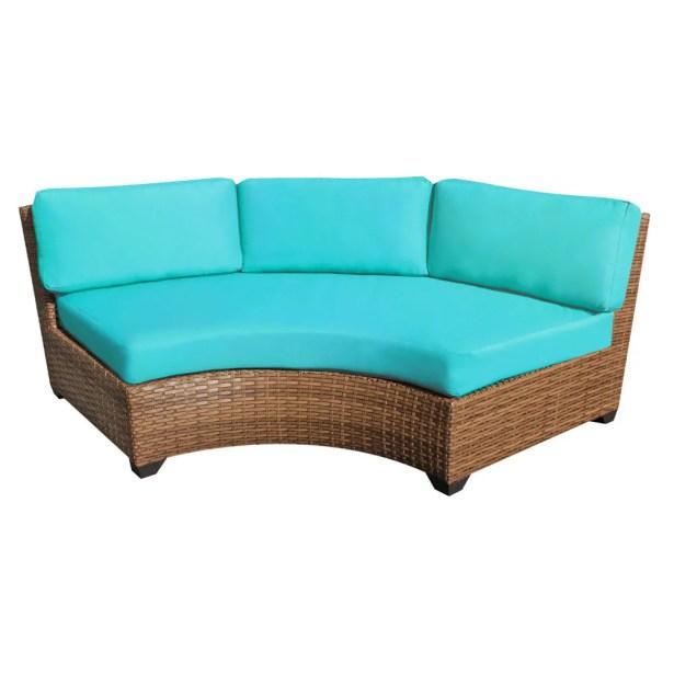 Asellus Curved Armless Sofa with Cushions Color: Aruba