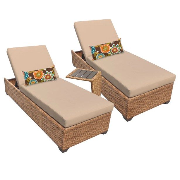 Asellus 3 Piece Chaise Lounge Set with Cushion Color: Wheat