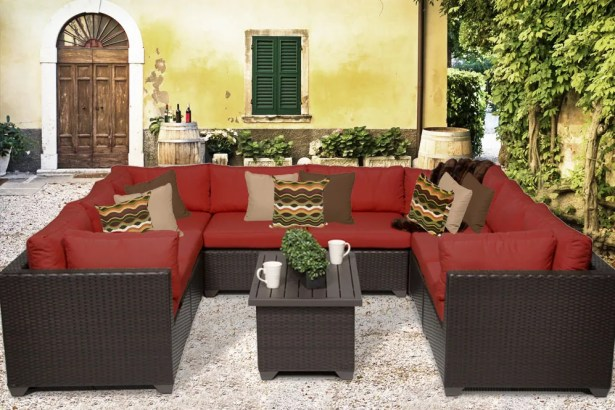 Belle 9 Piece Sectional Set with Cushions Fabric: Terracotta