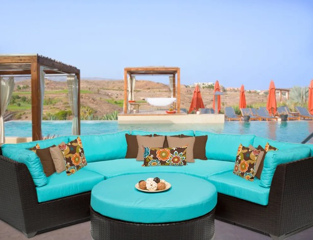 Barbados 4 Piece Rattan Sectional Set with Cushions Color: Aruba