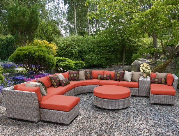 Florence 11 Piece Sectional Set with Cushions Fabric: Tangerine