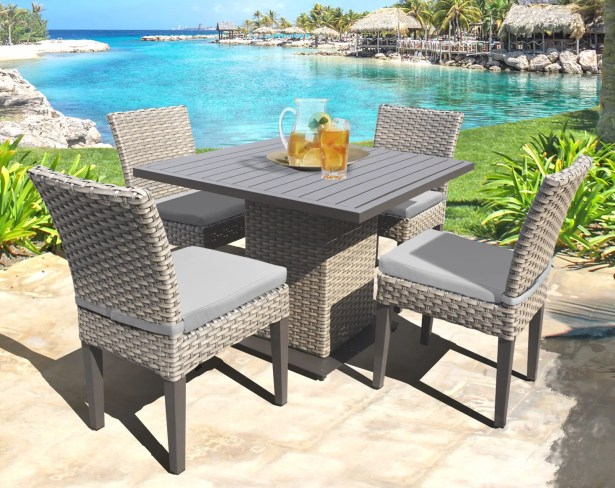 Oasis 5 Piece Dining Set with Cushions Color: Gray