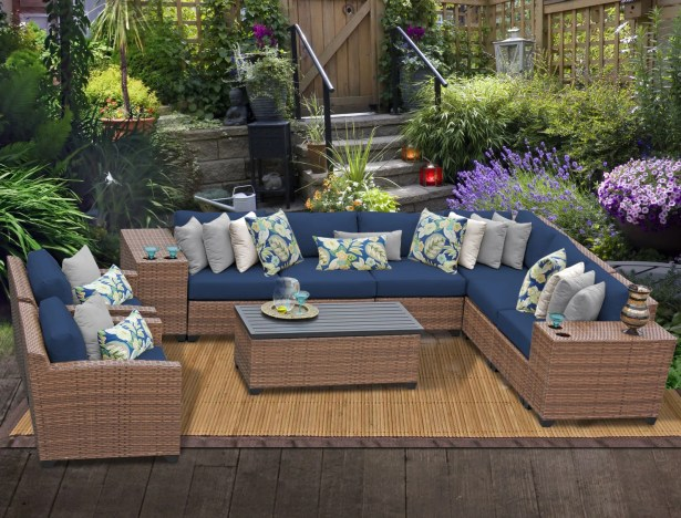 East Village 11 Piece Rattan Sectional Set with Cushions Color: Navy