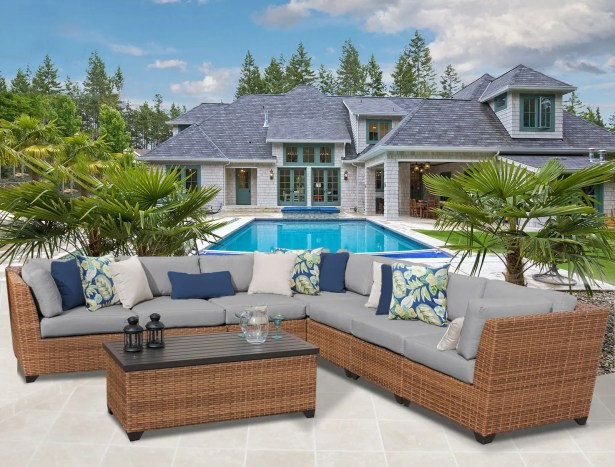 East Village 8 Piece Rattan Sectional Set with Cushions Color: Gray