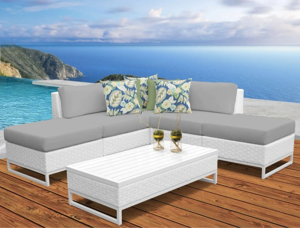 Miami 6 Piece Sectional Set with Cushions Fabric: Gray
