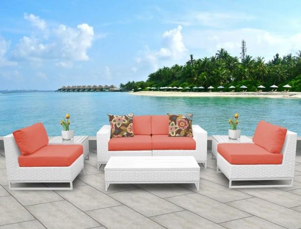 Miami 7 Piece Sofa Set with Cushions Fabric: Tangerine