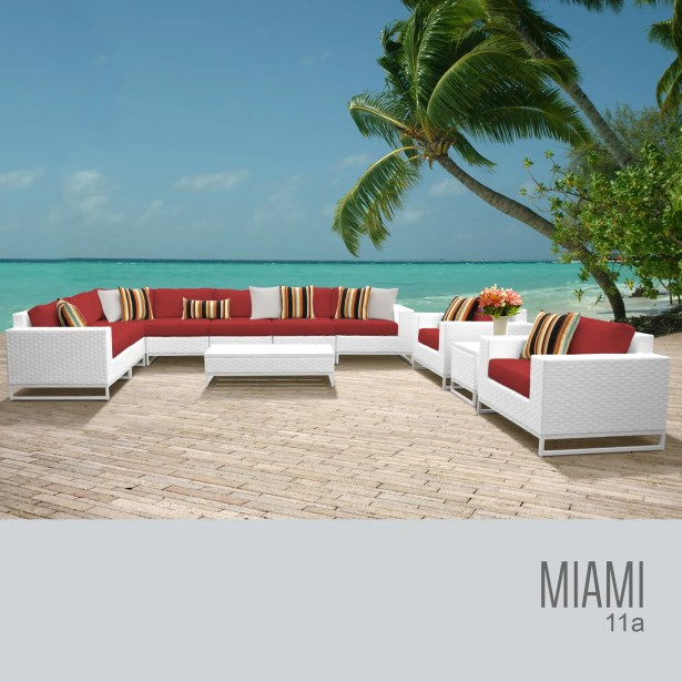 Miami 11 Piece Sectional Set with Cushions Fabric: White