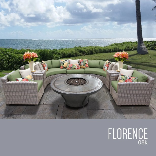 Florence 8 Piece Rattan Sectional Set with Cushions Cushion Color: Cilantro