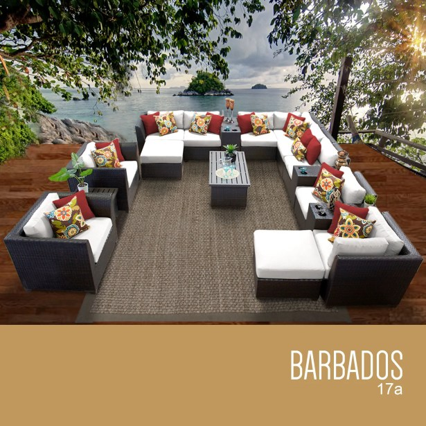 Barbados 17 Piece Rattan Sectional Set with Cushions Fabric: White