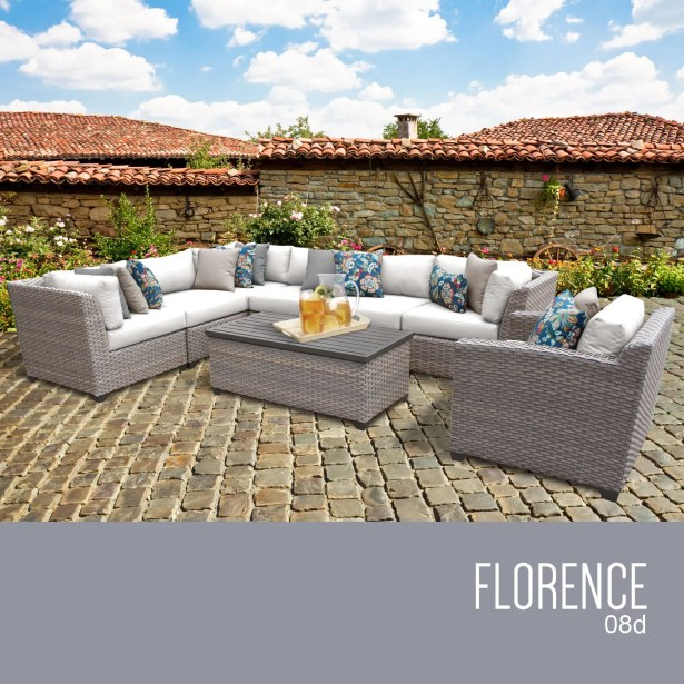 Florence 8 Piece Rattan Sectional Set with Cushions Fabric: White