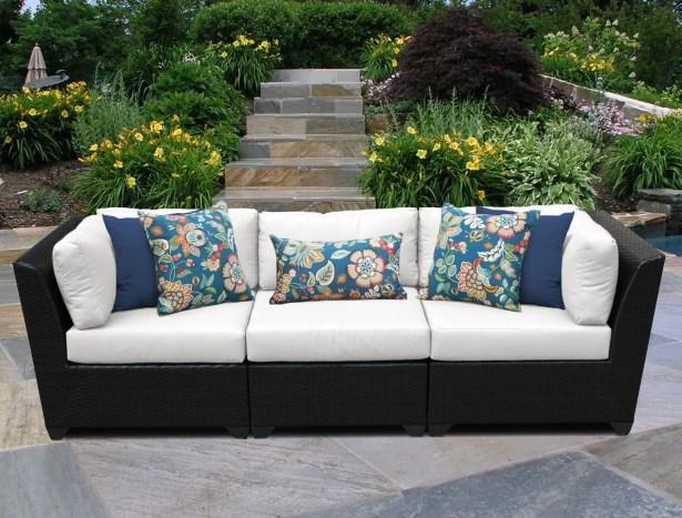 Barbados 3 Piece Patio Sofa with Cushions Color: White