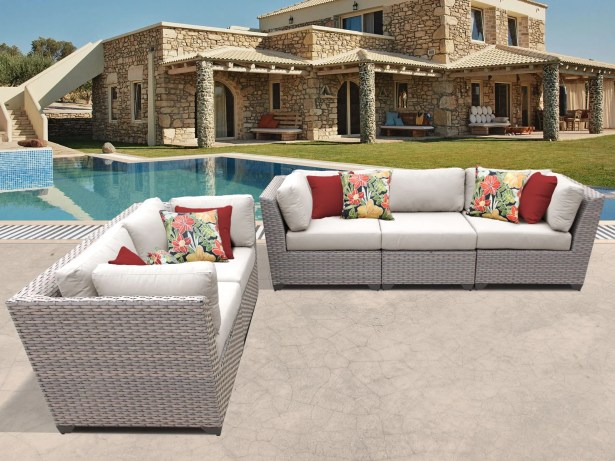 Florence 5 Piece Sofa Set with Cushions Color: Beige