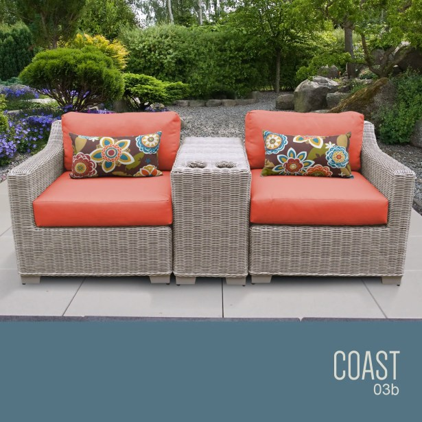 Coast 3 Piece Conversation Set with Cushions Cushion Color (Fabric): Tangerine