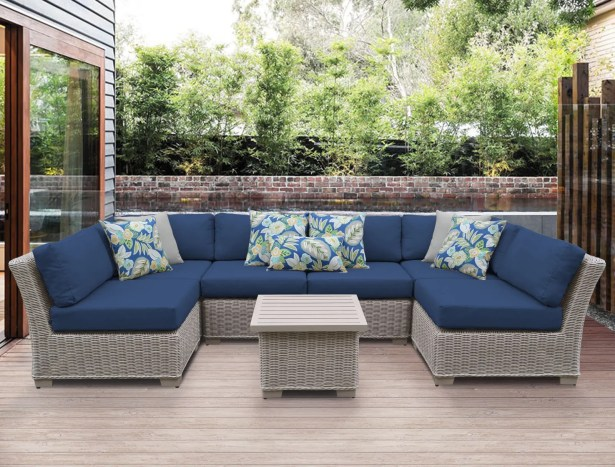 Coast 7 Piece Sectional Set with Cushions Cushion Color: Navy
