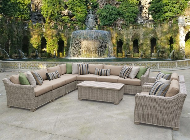 Coast 10 Piece Sectional Set with Cushions Cushion Color: Wheat