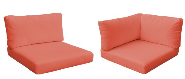 Monaco Outdoor 14 Piece Lounge Chair Cushion Set Fabric: Tangerine