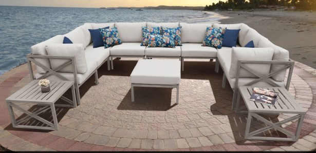 Carlisle 12 Piece Outdoor Sectional Set with Cushions Cushion Color: Beige