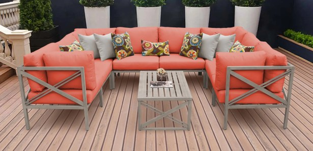 Carlisle 9 Piece Outdoor Sectional Set with Cushions Cushion Color: Tangerine