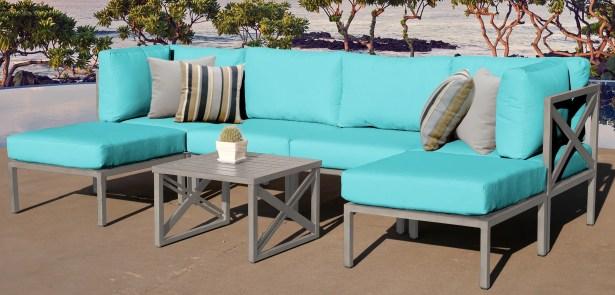 Carlisle 7 Piece Outdoor Sectional Set with Cushions Cushion Color: Aruba
