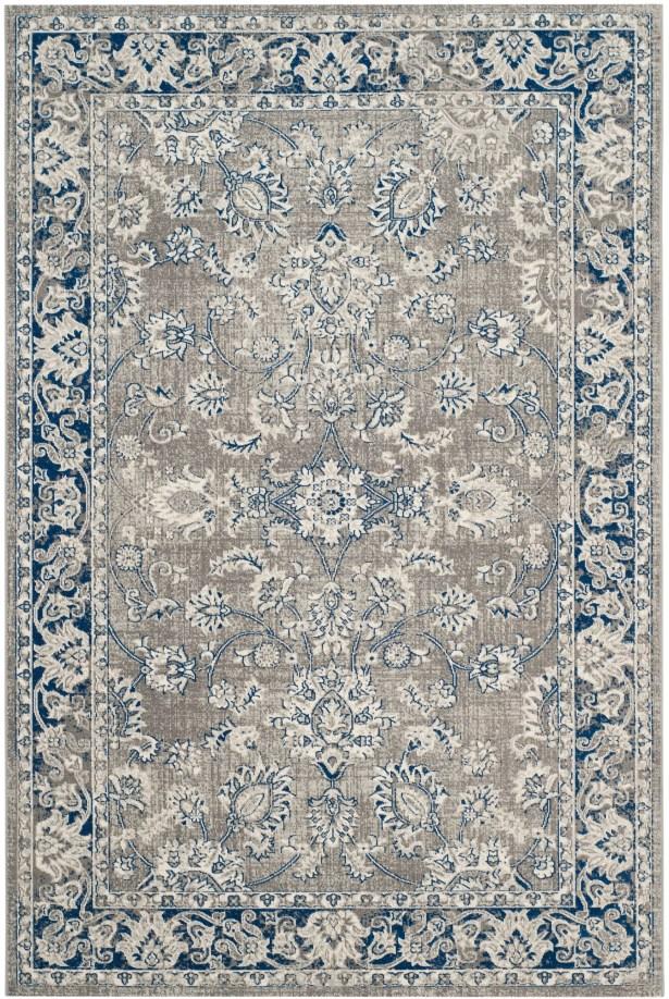 Harwood Power Loom Cotton Gray/Blue Area Rug Rug Size: Rectangle 3' x 5'