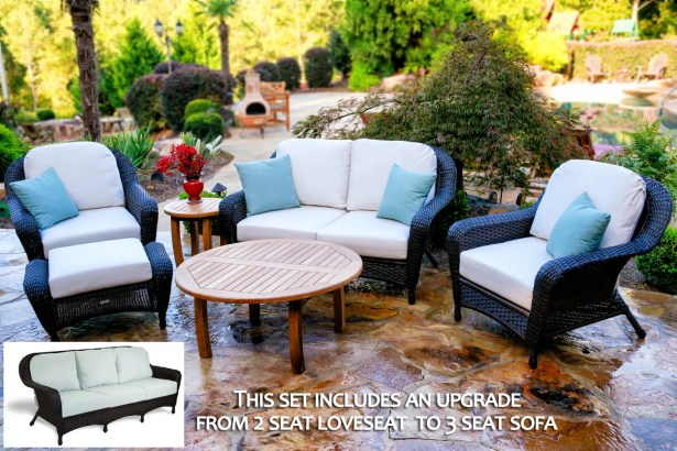 Fleischmann 6 Piece Sofa Set with Cushions Fabric: Santorini Zinnia, Wicker Color: Mojave