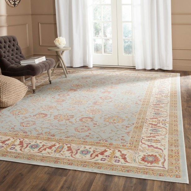 Enlow Silver/Ivory Area Rug Rug Size: Rectangle 5'3