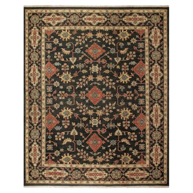 Carrickfergus Knotted Wool Black/Brown Floral Area Rug Rug Size: Rectangle 5'6