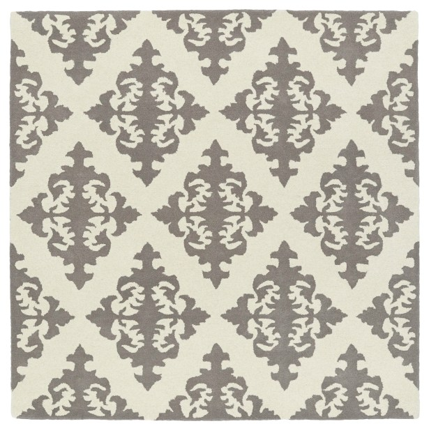 Slovan Hand-Tufted Gray/Ivory Area Rug Rug Size: Square 3'9