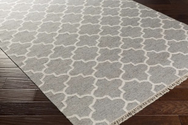 Palladio Hand-Woven Gray/White Area Rug Rug Size: Rectangle 5' x 7'6