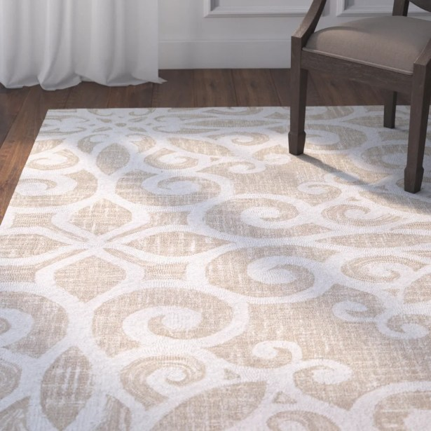 Lissette Hand-Woven Cream/Taupe Area Rug Rug Size: Rectangle 9'5