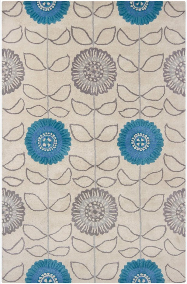 Boise Hand Tufted Rectangle Transitional Blue/Gray Area Rug