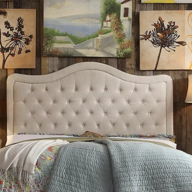 Turin Upholstered Panel Headboard Upholstery: Beige, Size: Queen