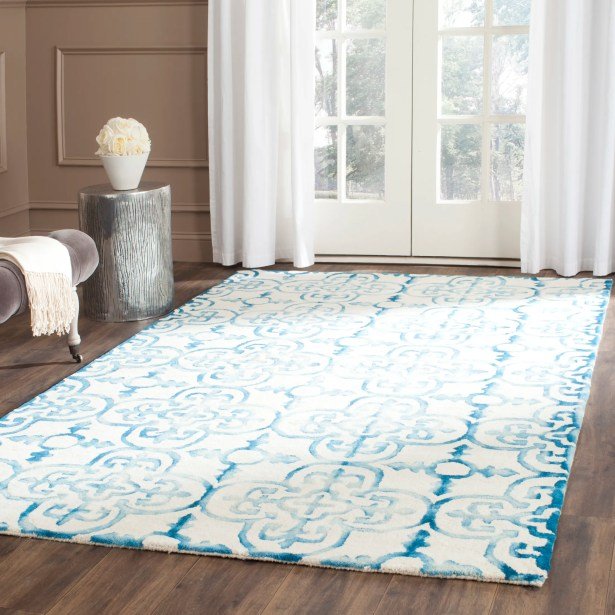 Naples Park Hand-Tufted Ivory/Turquoise Area Rug Rug Size: Runner 2'3