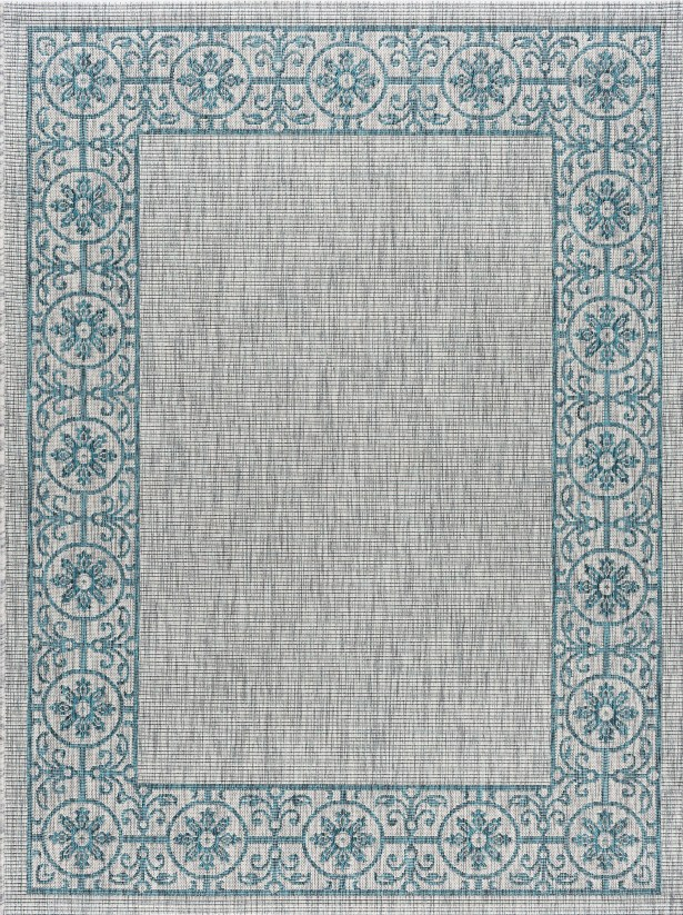 Mann Traditional Teal Indoor/Outdoor Area Rug Rug Size: 5'3'' x 7'3''