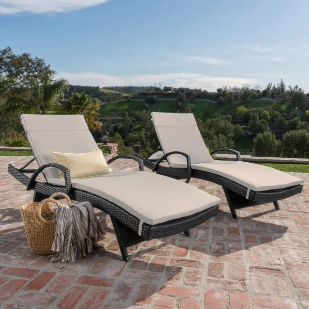 Acad Outdoor Wicker Arm Chaise Lounge Fabric: Textured Beige
