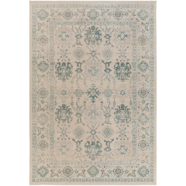 Canfield Teal/Beige Area Rug Rug Size: Rectangle 5'4