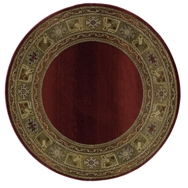 Ferrer Ruby/Gold Area Rug Rug Size: Round 6'
