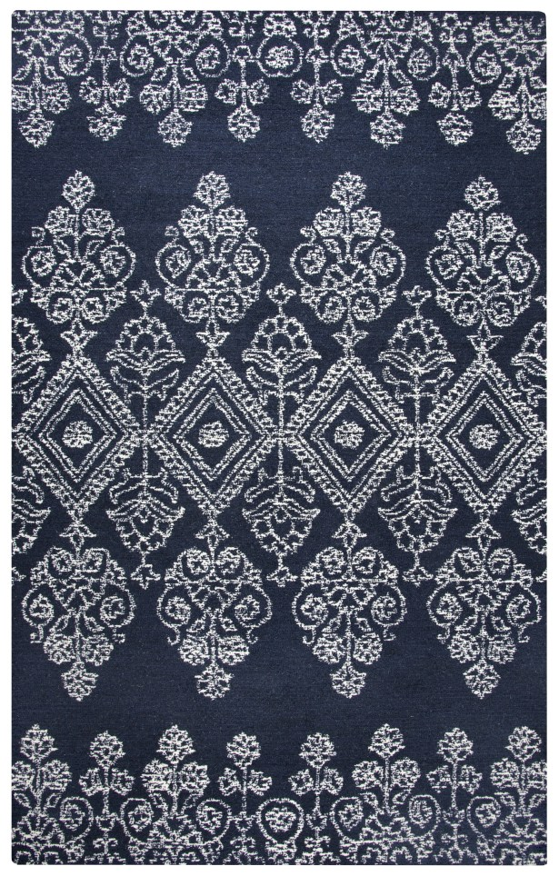 Avoca Hand-Tufted Ivory/Navy Area Rug Rug Size: Rectangle 3' x 5'