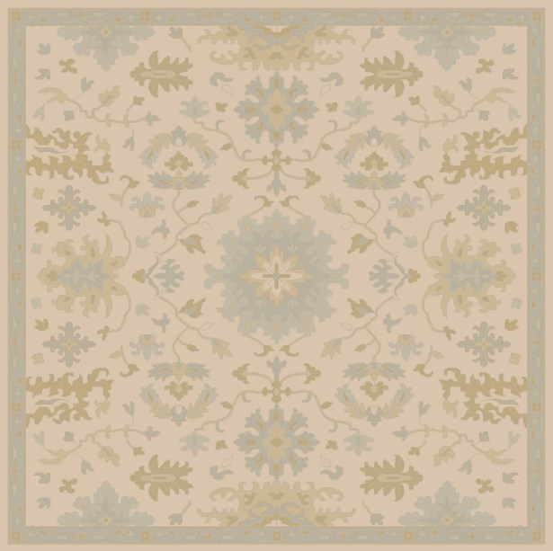 Willard Hand-Woven Wool Beige/Green Area Rug Rug Size: Square 4'