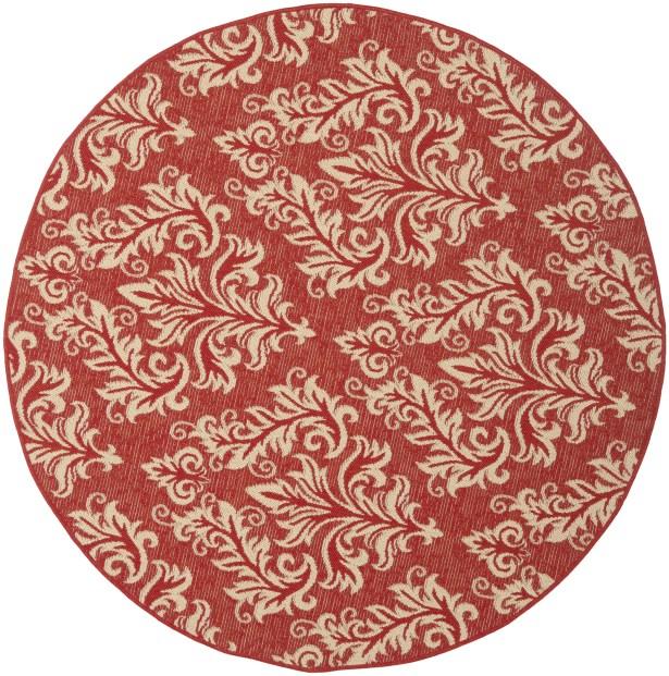 Octavius Red / Creme Indoor / Outdoor Area Rug Rug Size: Round 5'3